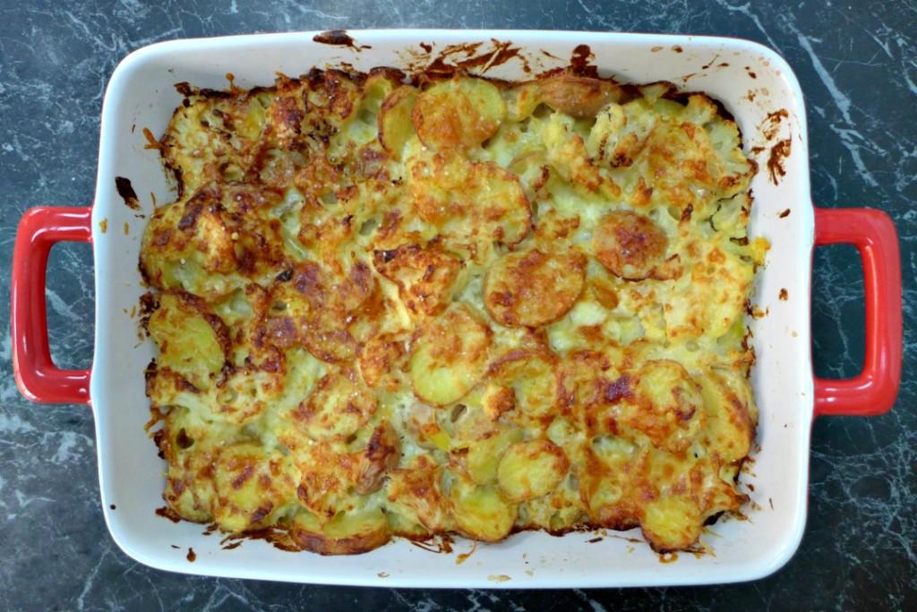 Cheesy Potato and Cauliflower Gratin