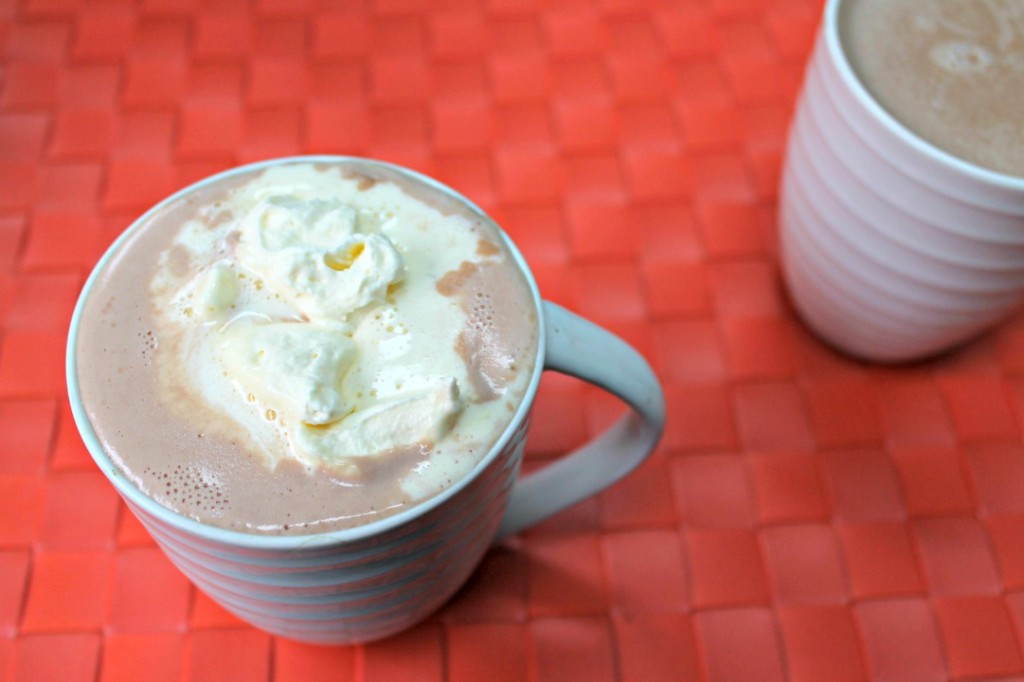 Keto Hot Chocolate in a mug topped with whipped cream