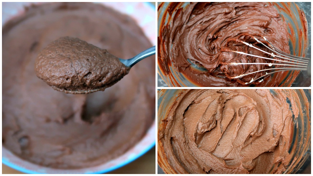 Collage of spoon of mascapone chocolate mousse, whisking the chocolate and the prepared keto chocolate mousse