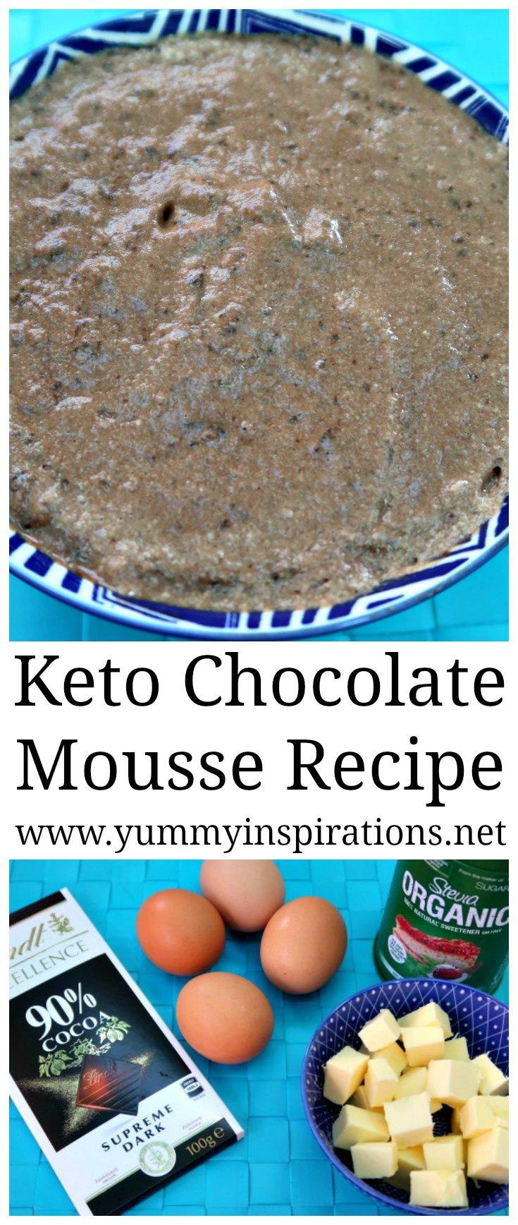 Receta de mousse de chocolate Keto - Recetas de postres Keto - Fácil mousse de chocolate bajo en carbohidratos con los cuatro sorteos más prácticos. Receta carnosa + video tutorial.