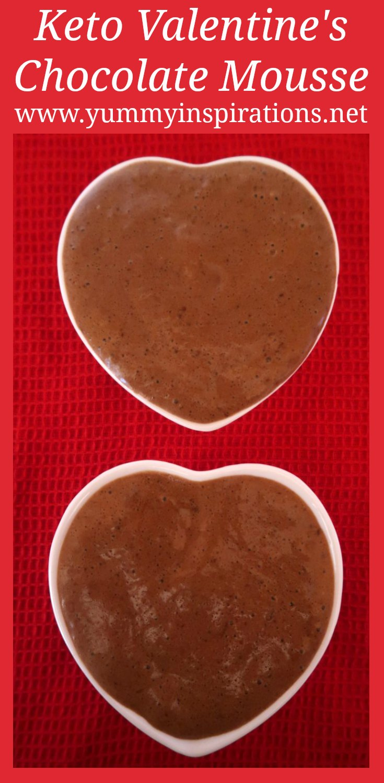 Postre del día de San Valentín de Keto - Mousse de chocolate bajo en carbohidratos con 4 ingredientes - Receta completa y video tutorial.