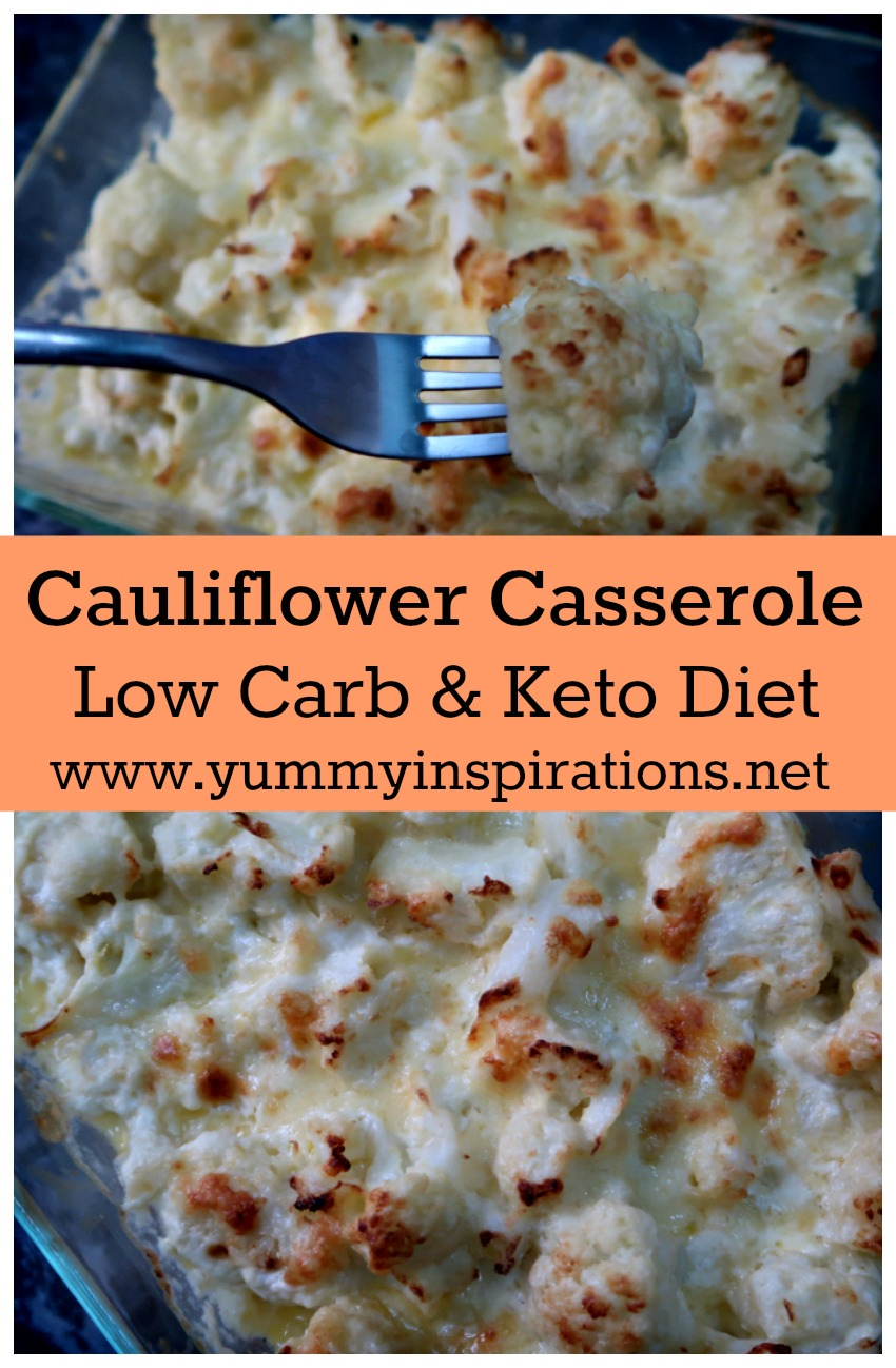 4 Ingredient Cheesy Low Carb Cauliflower Casserole Recipe - Easy Keto Cauliflower Casserole Recipe plus video tutorial.