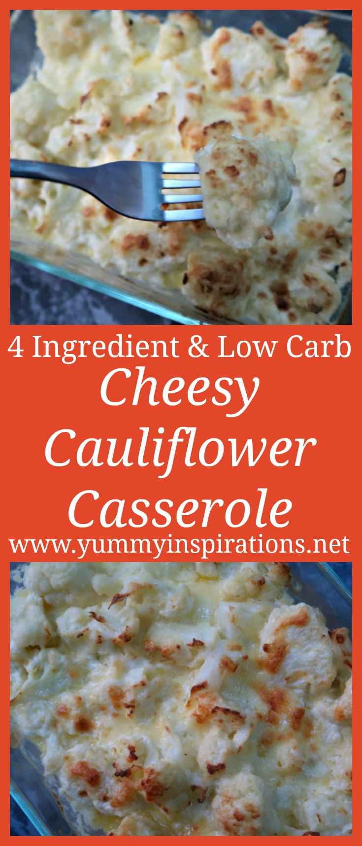4 Ingredient Easy Cheesy Low Carb Cauliflower Casserole Recipe & Video