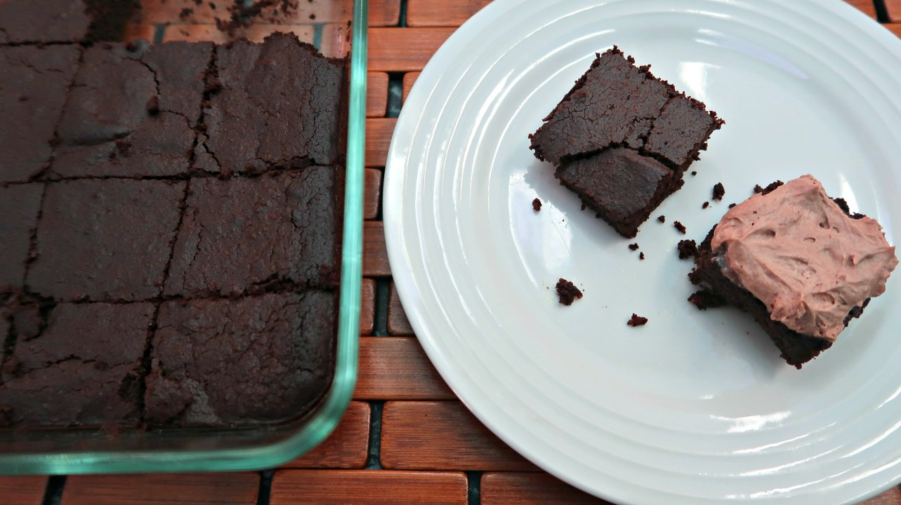 Frosted low carb chocolate brownies