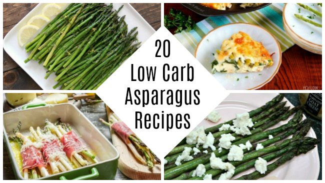 20 Low Carb Asparagus Recipes - Keto Diet Friendly Asparagus Recipe Ideas and Inspiration for soup, quiche, casserole, salad, bacon wrapped, pan stir fried, with cheese and more!