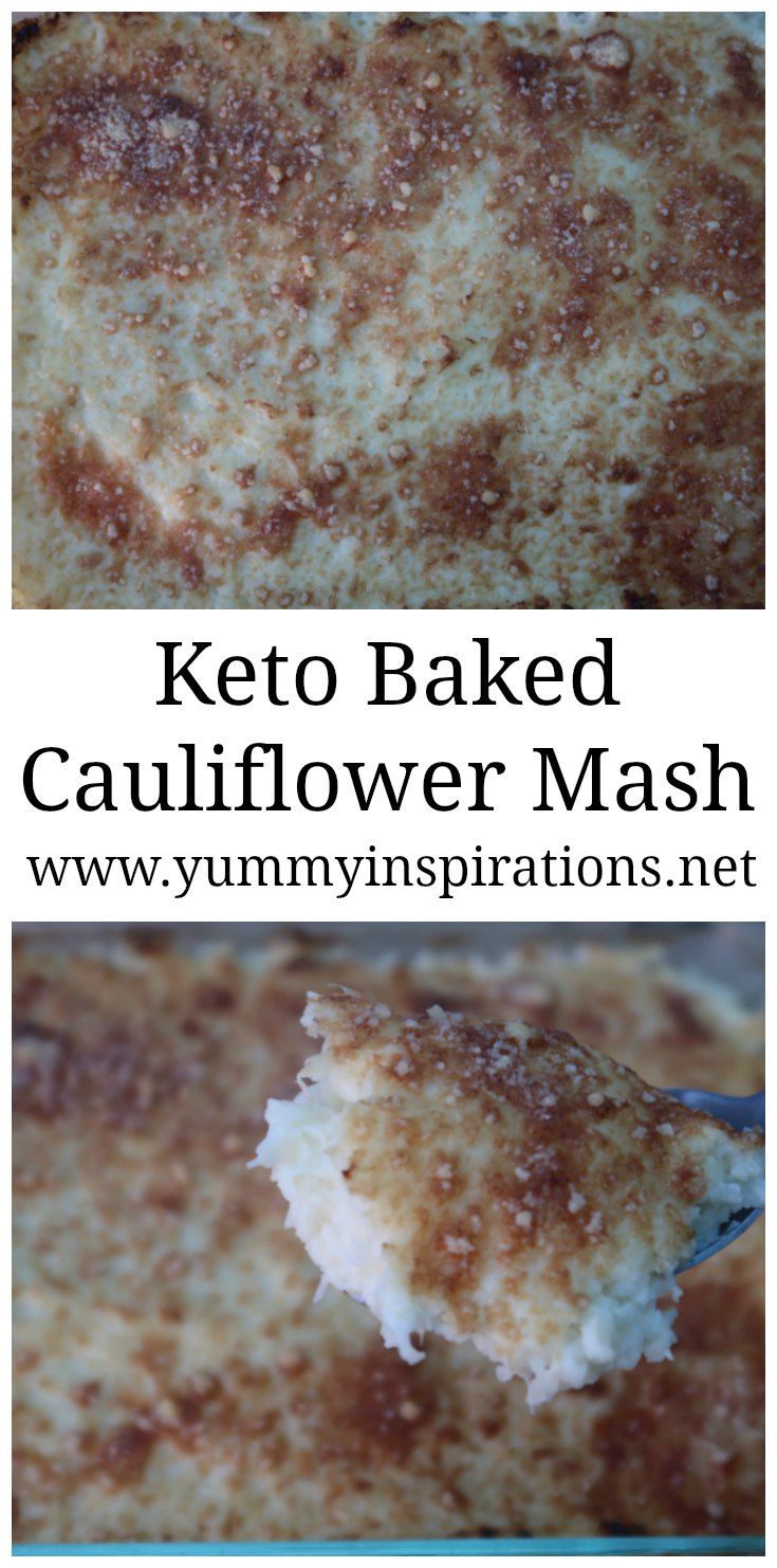 Baked Cauliflower Mash with a crunchy parmesan cheese topping - easy low carb, keto diet side dish recipes- gluten free comfort foods. Perfect for your Thanksgiving, Christmas or Entertaining Menu!