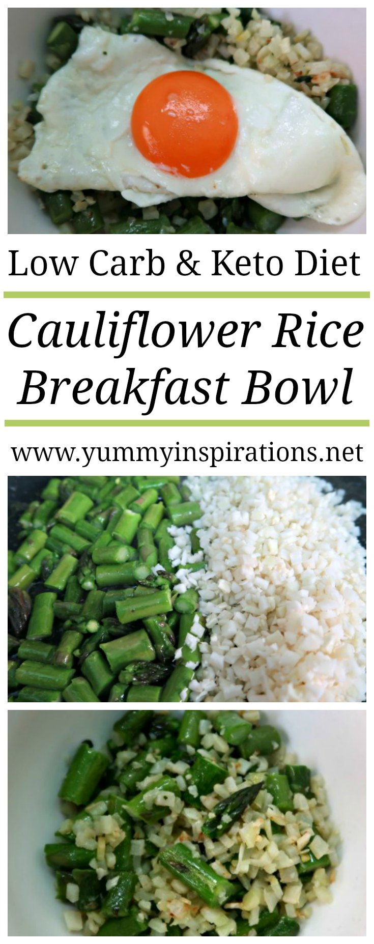 Keto Cauliflower Rice Breakfast Bowl Recipe - Easy Low Carb Cauliflower Recipes - How to make Ketogenic Cauli Rice for a simple breakfast idea.