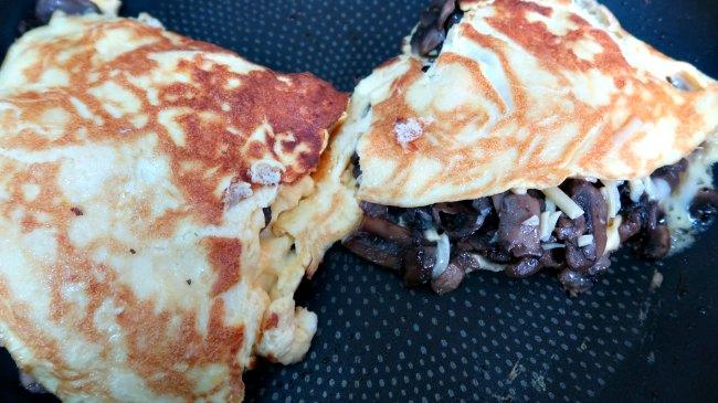 Keto Mushroom Omelet in a frying pan