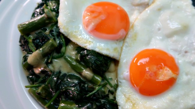 Low carb breakfast of fried eggs and greens