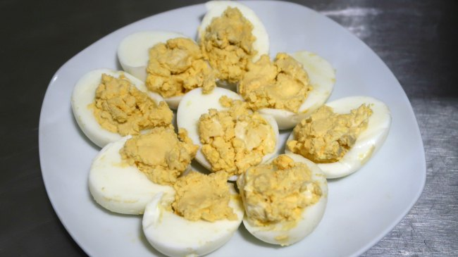 Plate of keto devilled eggs
