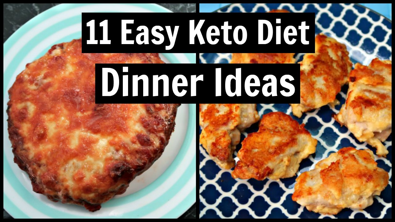 11 Easy Keto Diet Dinner Ideas Collage of Pizza Stuffed Mushrooms and Chicken Nuggets