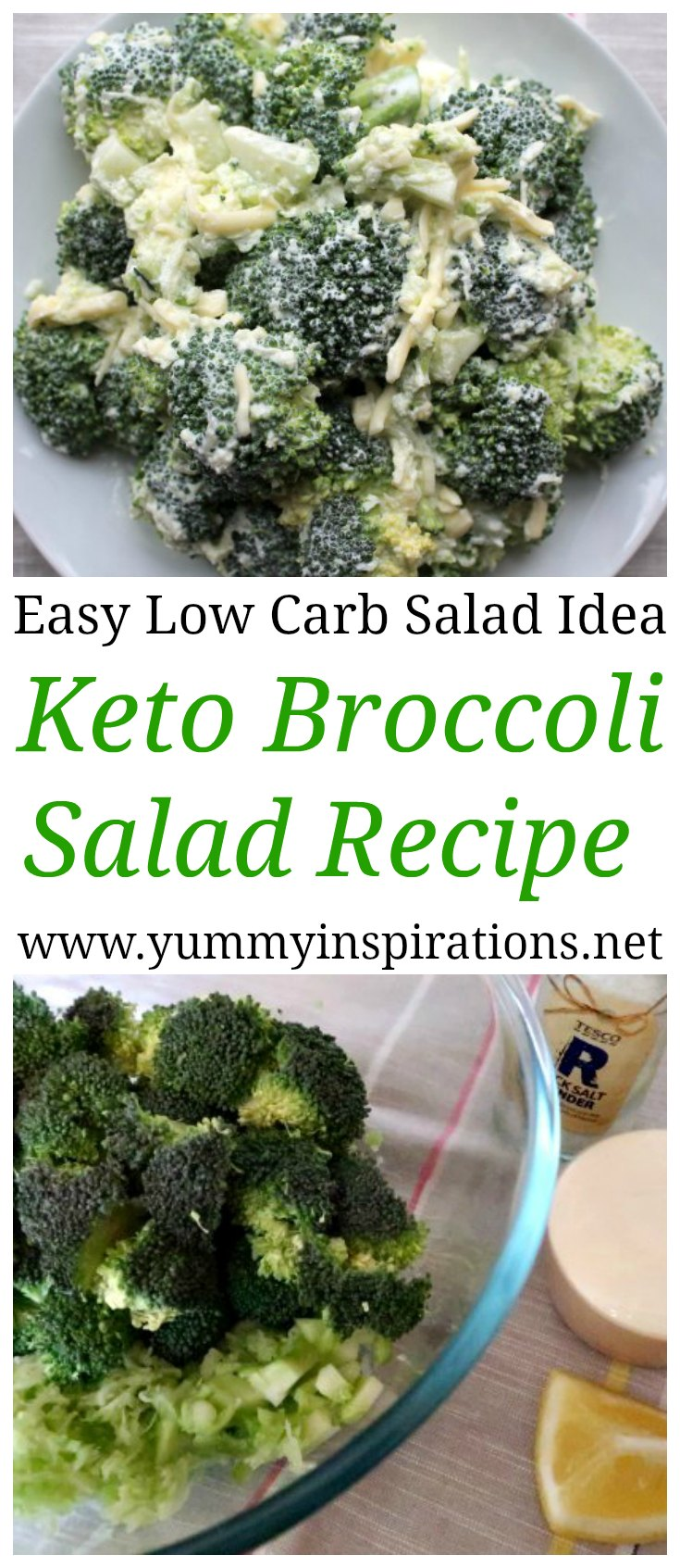 Healthy Keto Broccoli Salad Recipe - An easy low carb vegetarian simple salad idea with broccoli, sour cream and cheese - plus the full step by step video tutorial.