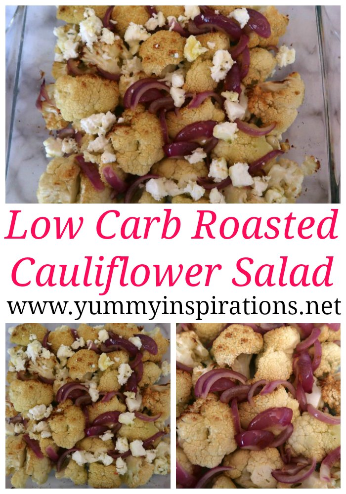 Low Carb Roasted Cauliflower Salad Recipe - Easy Keto Winter Salad - Great Ketogenic Diet friendly meal for lunch or dinner.