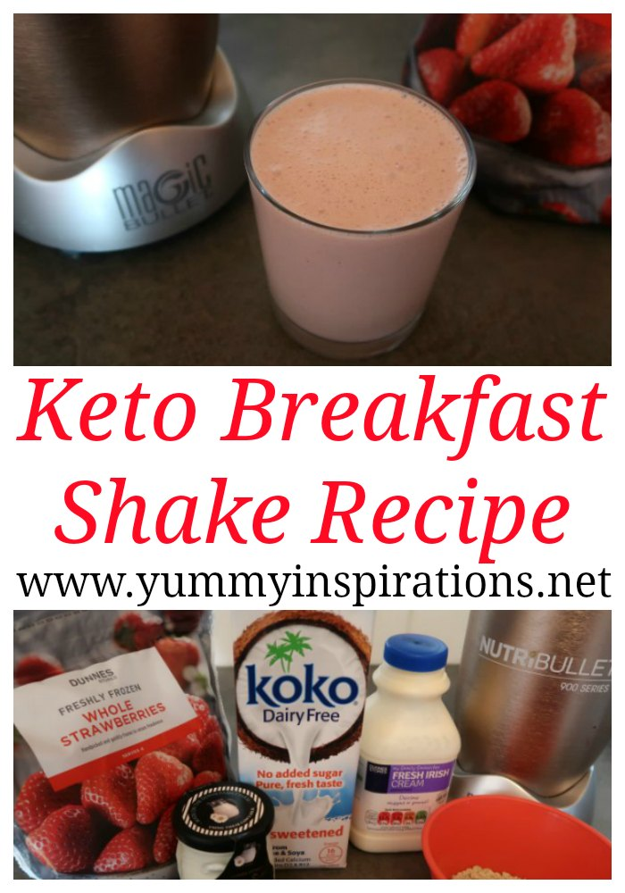 Keto Breakfast Shake Recipe - Easy Low Carb Smoothie with Ketogenic Diet ingredients including strawberry, cream and protein powder.