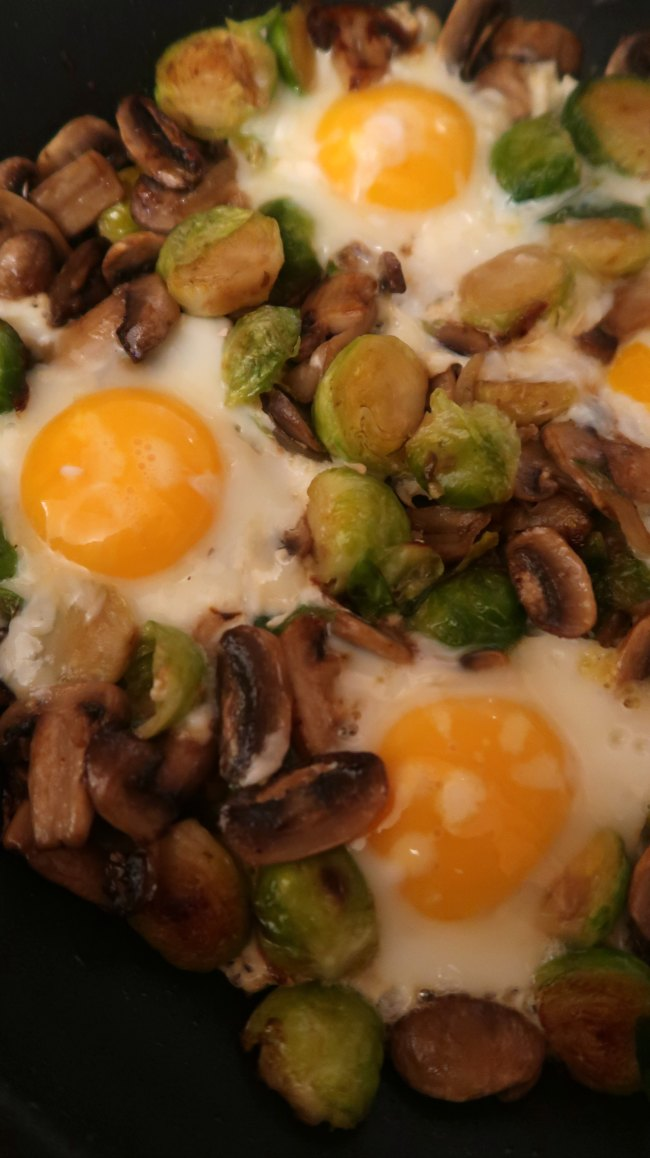 Simple Brussels Sprout Hash Recipe with Eggs - Easy Low Carb & Keto friendly vegetarian breakfast ideas