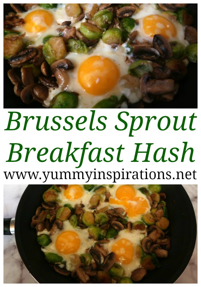 Simple Brussels Sprout Hash Recipe with Eggs - Easy Low Carb & Keto friendly vegetarian breakfast ideas with brussels sprouts and mushrooms.