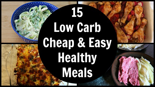 Collage of 15 Cheap Easy Healthy Meals