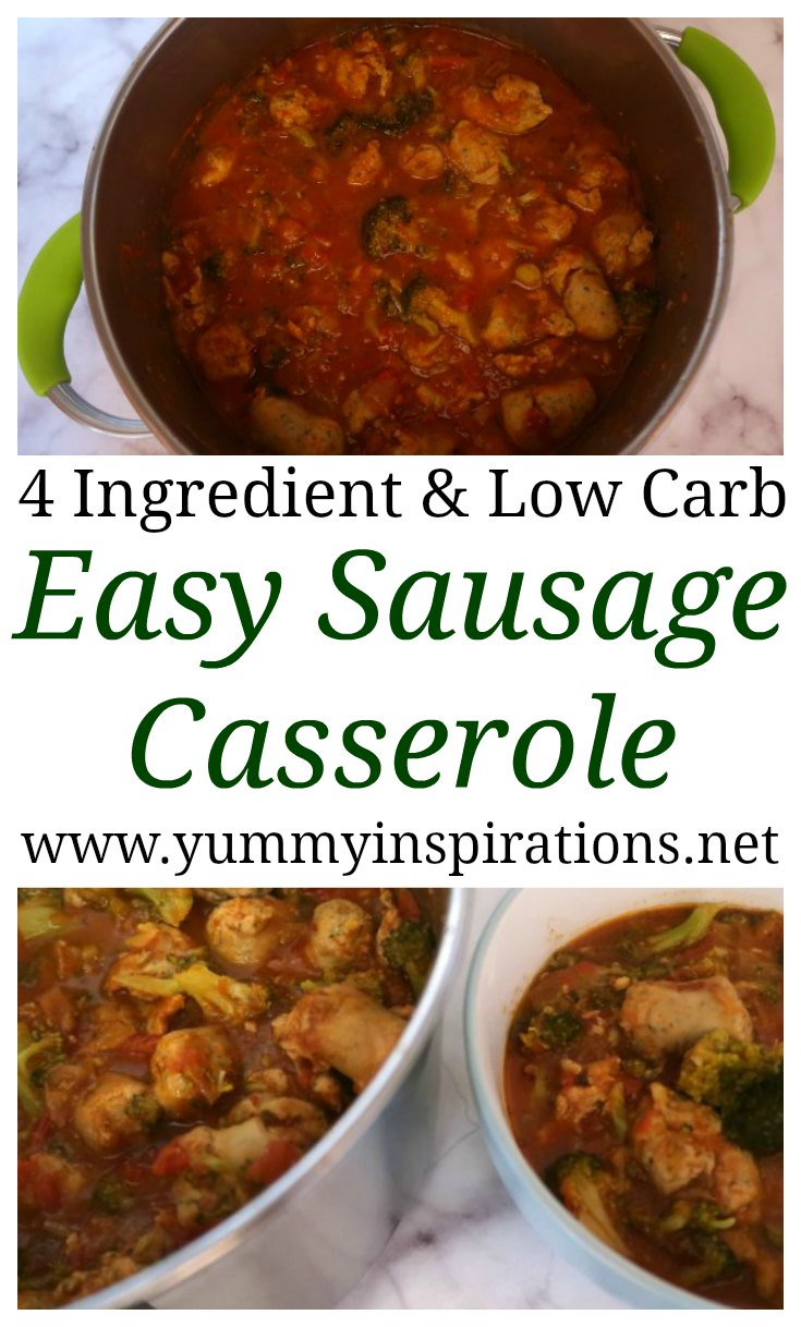 Easy Sausage Casserole Recipe - One Pot Wonders - Low Carb Dinner Idea with broccoli, sausage and only a few ingredients.