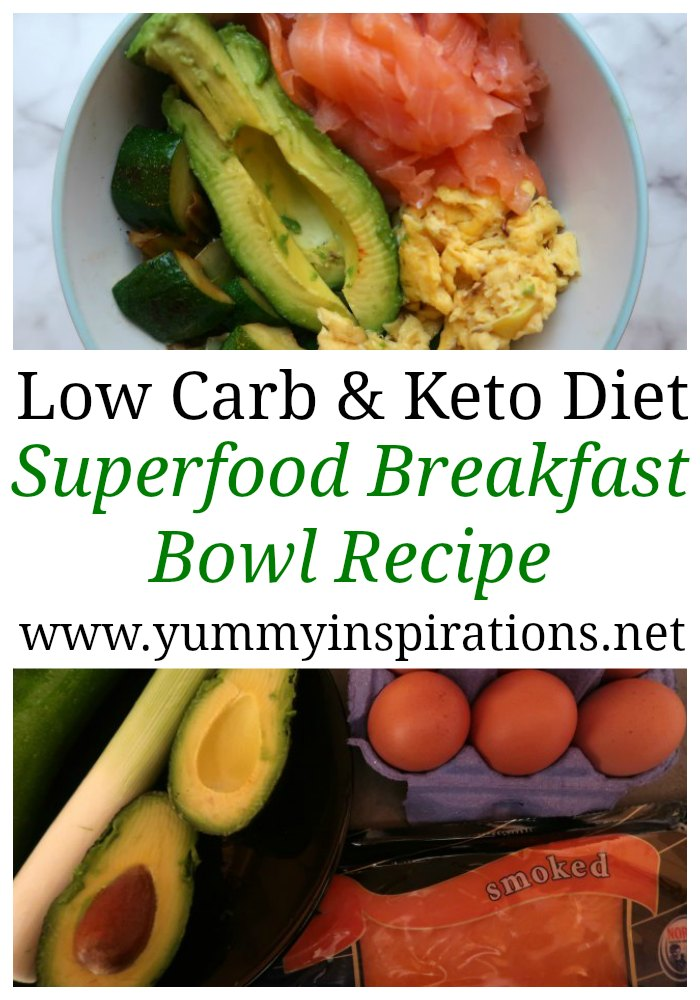 Superfood Bowl For Breakfast - Easy recipe for low carb & Keto Diet friendly breakfast bowl with superfood ingredients.