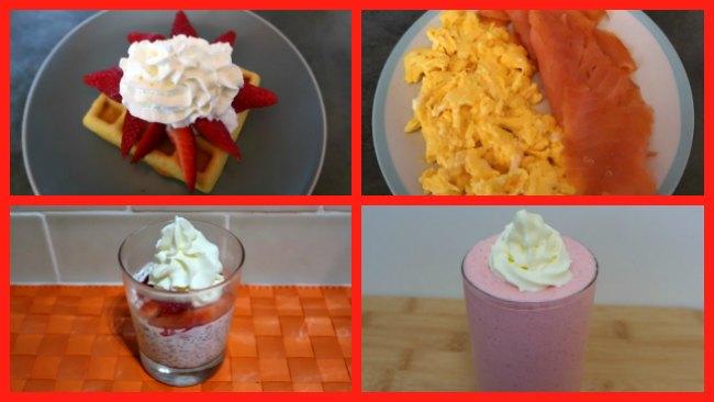 Collage of keto valentines breakfast ideas