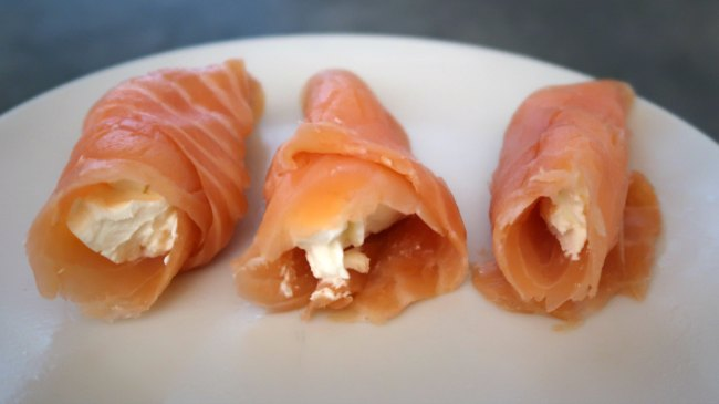 Smoked salmon roll ups - low carb high protein snacks