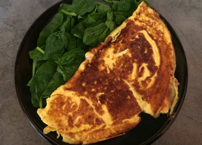 Cheese Omelette and Spinach