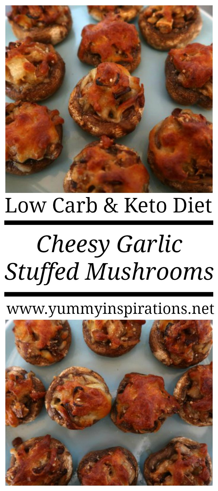 Cheesy Garlic Vegetarian Stuffed Mushrooms Recipe - Easy Low Carb & Keto Friendly Dinner, Appetizer or Side Dish with ideas for healthy stuffing ingredients.