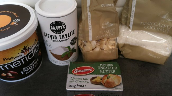 Ingredients for no bake peanut butter cookies