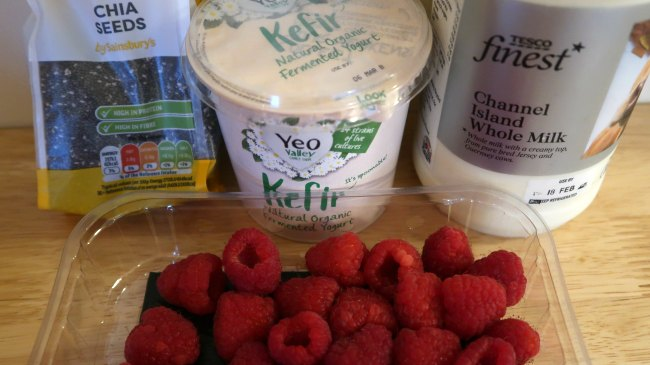 Ingredients for raspberry chia puddings