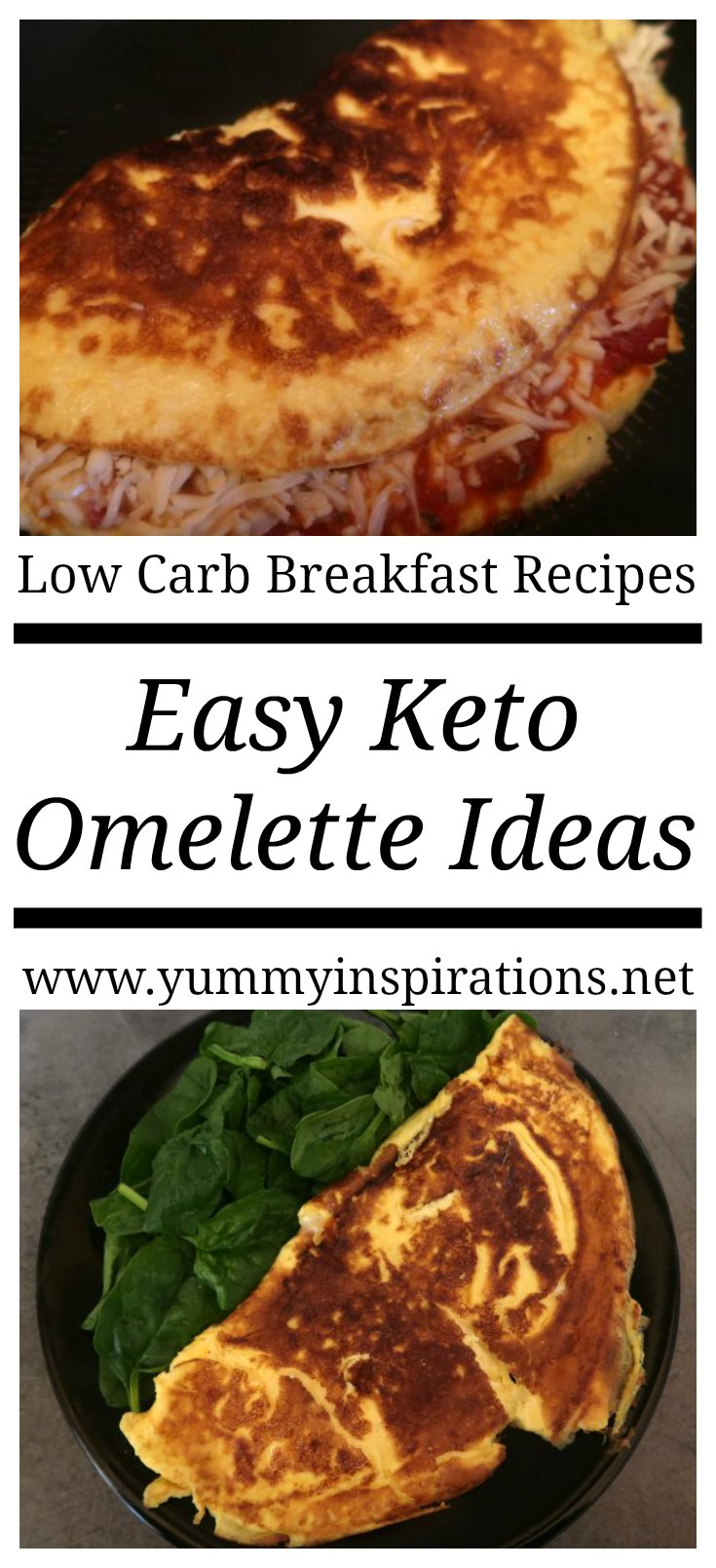 Keto Omelette Ideas - low carb vegetarian breakfast omelette fillings including mushrooms, cheese, asparagus and more easy options.