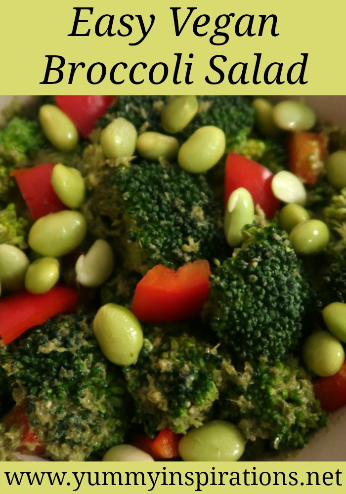 Vegan Broccoli Salad Recipe with Pesto and Peppers - healthy salad without mayo - easy raw high protein vegetarian salad bowl recipes.