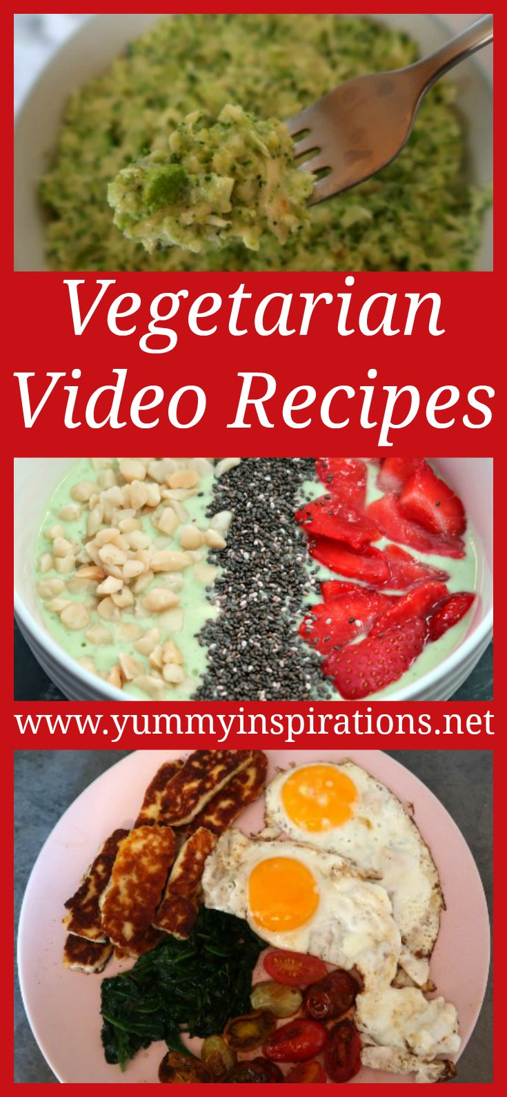 Vegetarian Video Recipes - A collection of vegetarian and vegan cooking videos to watch for easy & healthy recipes for every meal - breakfast, lunch, dinner, snacks and dessert.