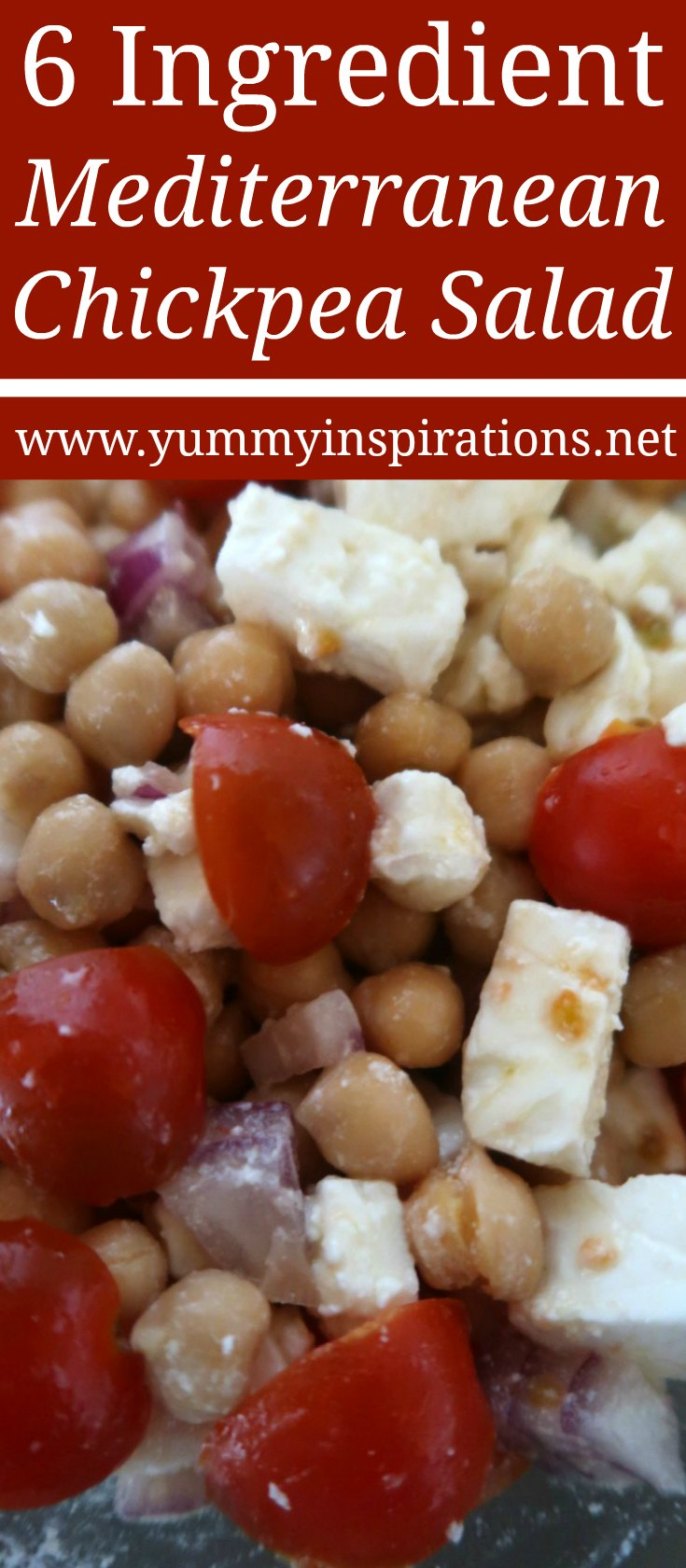 6 Ingredient Mediterranean Chickpea Salad Recipe - Easy Vegetarian Salad Recipes - Ideas for lunch or a light dinner.