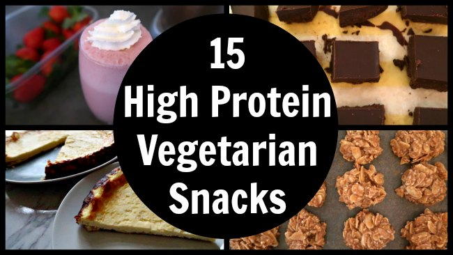 Collage of high protein snack recipes