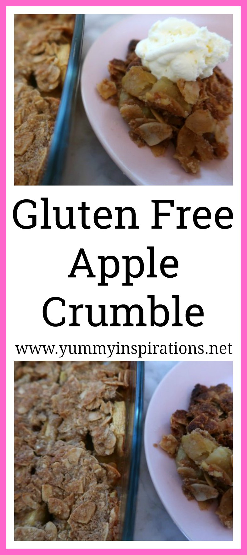 Gluten Free Apple Crumble Recipe - Easy & Healthy Apple Crumble with ground almonds - with tips to make it dairy free, vegan and paleo friendly.