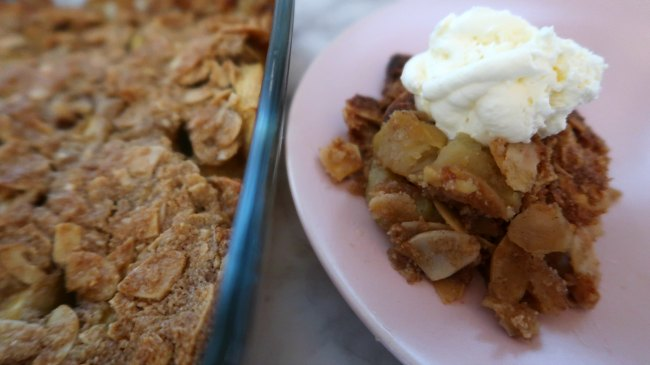 Healthy Gluten Free Apple Crumble with whipped cream