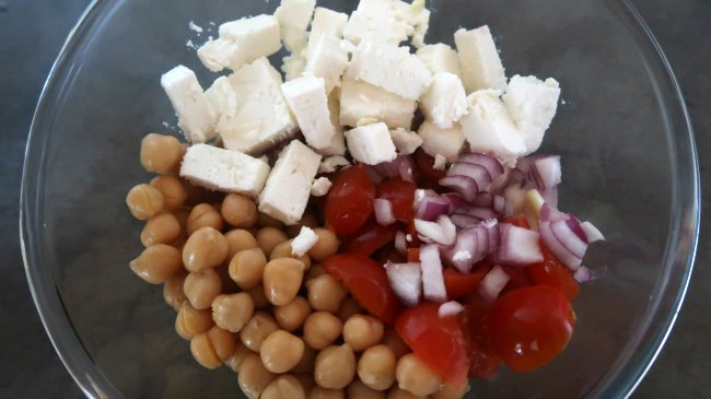 Mediterranean salad bowl with chickpeas and feta