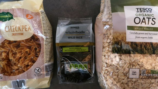 Pasta, rice and oats for vegetarian grocery list