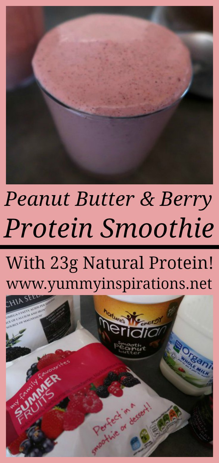 Peanut Butter & Berry Protein Smoothie Recipe - Easy Homemade High Protein Smoothies without protein powder recipes with 23g of natural protein- great for breakfast or a healthy snack. Tips are included to create a low carb, paleo or vegan friendly smoothie.