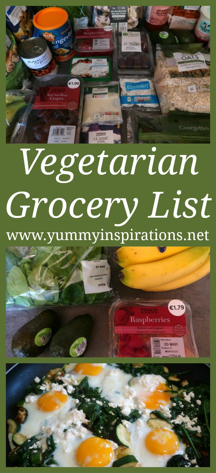 Vegetarian Grocery List - a healthy shopping list of food for beginners to a vegetarian diet - great for meal planning and recipe ideas.