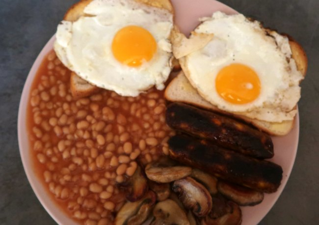 Vegetarian full breakfast fry up