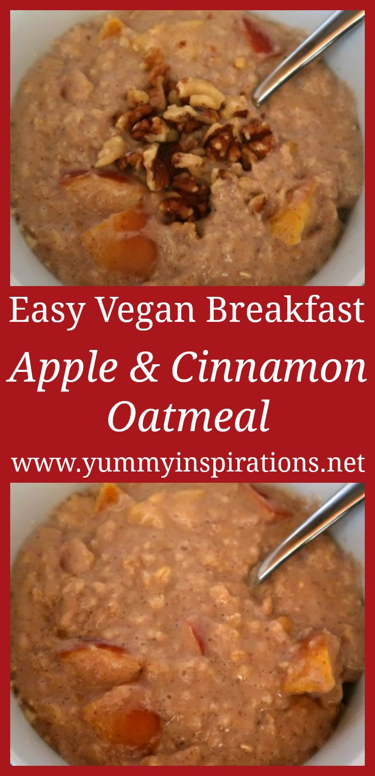Apple and Cinnamon Oatmeal Recipe - How to make easy & healthy vegan friendly oats breakfast with apples and cinnamon.
