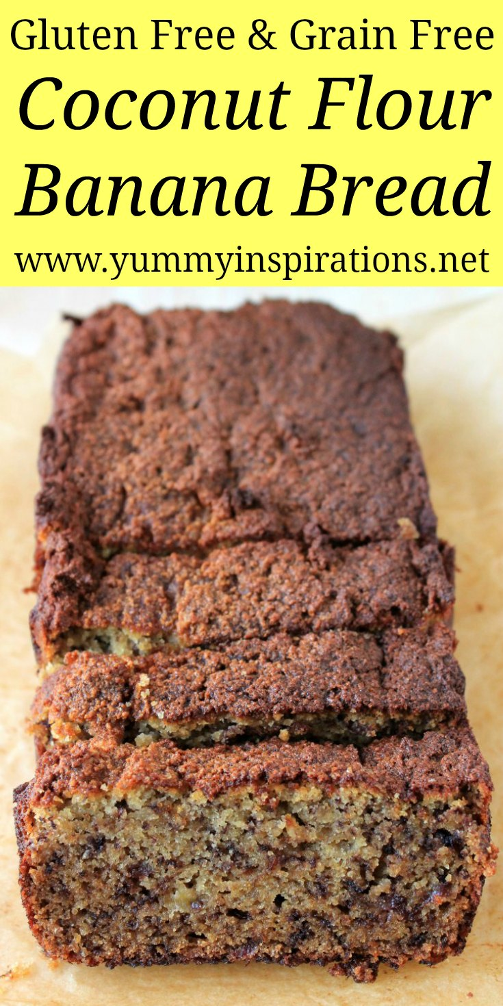 Gluten Free Banana Bread With Coconut Flour - Quick, Easy & Healthy Banana Bread Recipe using coconut flour and other grain free ingredients.
