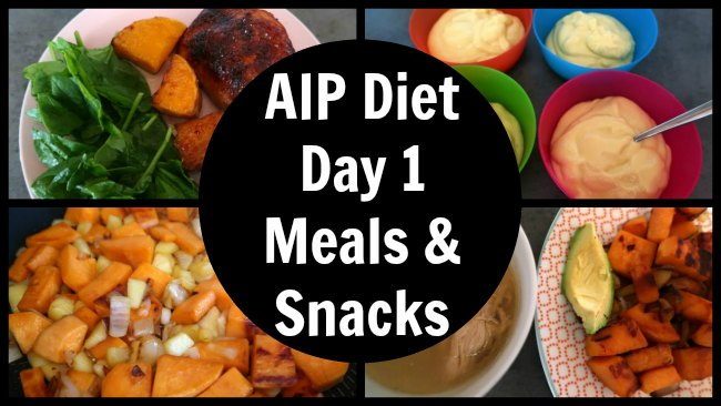 AIP Diet Day 1 Meal and snack ideas