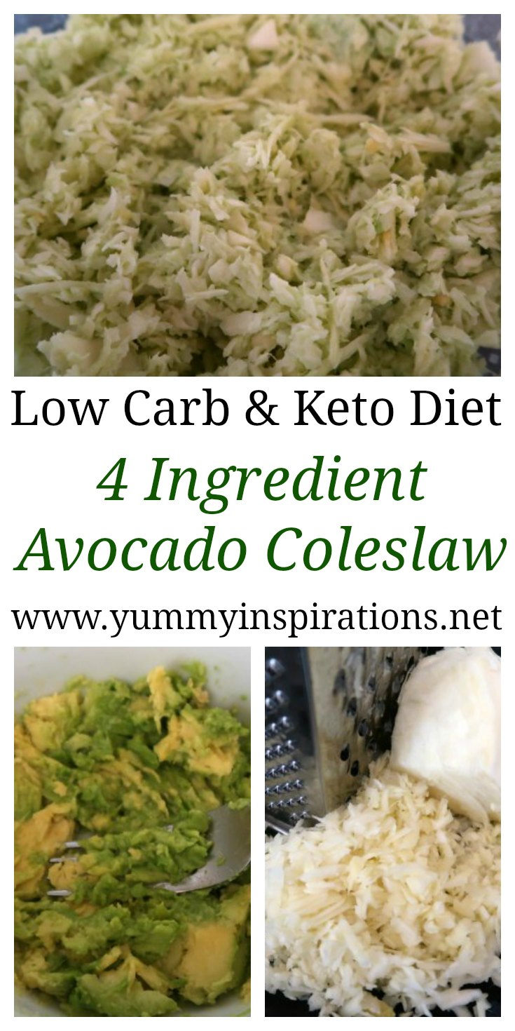Creamy Low Carb Coleslaw With Avocado Dressing - Easy Gluten Free Keto Coleslaw with 4 ingredients