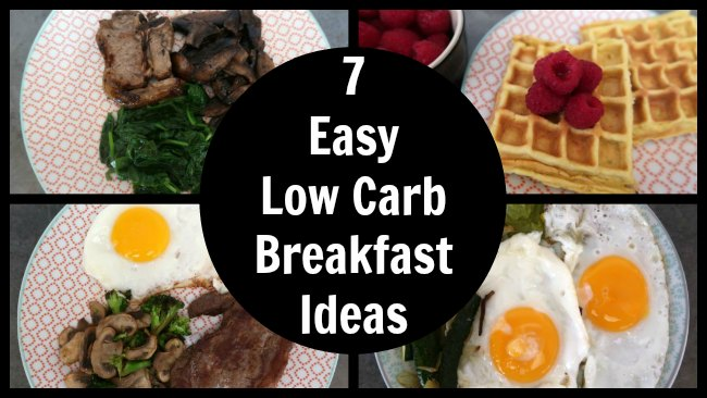 Collage of easy low carb and keto diet friendly breakfast ideas