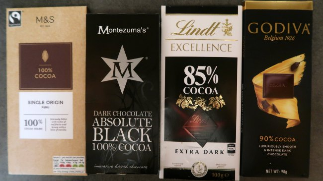 Selection Keto Chocolate Bar Brands - M & S, Montezumas, Lindt and Godiva