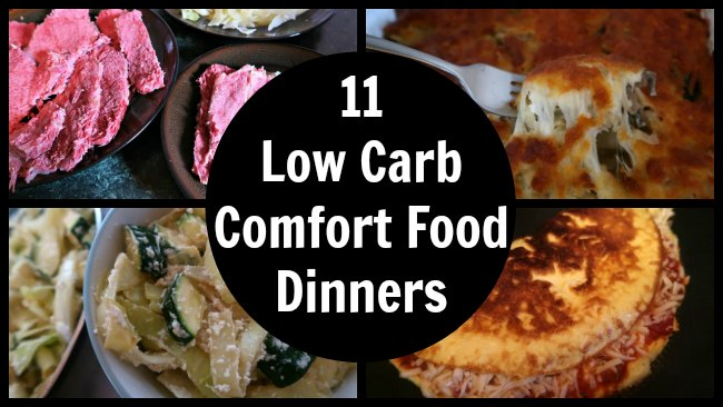 Collage of low carb comfort food meals