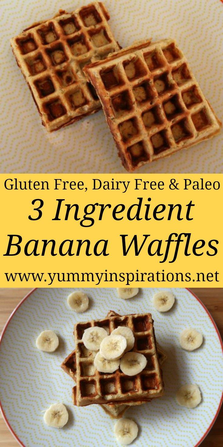 Gluten Free Banana Waffles Recipe With 3 Ingredients - Easy & Healthy Coconut Flour Waffles -Dairy Free & Paleo Friendly Recipes.