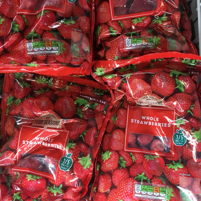 Low carb frozen strawberries at aldi